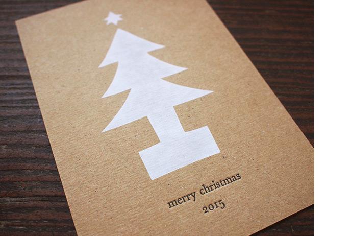 昔の印刷機でクリスマスカード作り